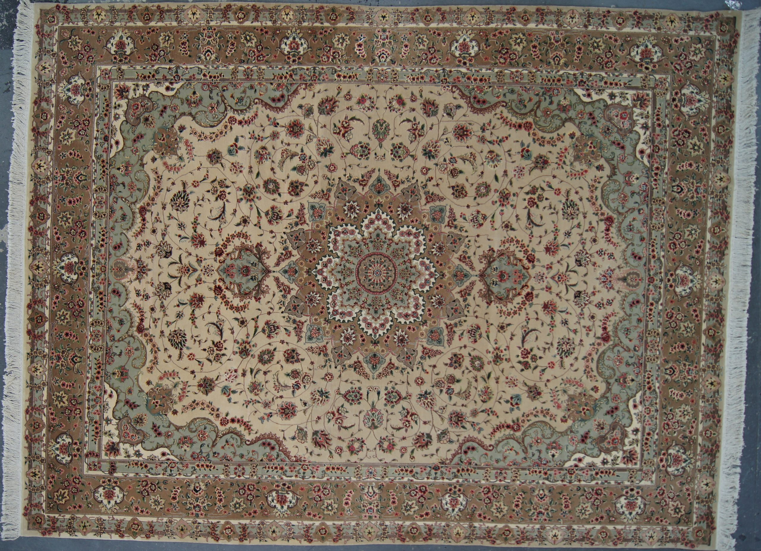 "Chinese Tabriz Wool/Silk Rug - 9'0""x12'0"""