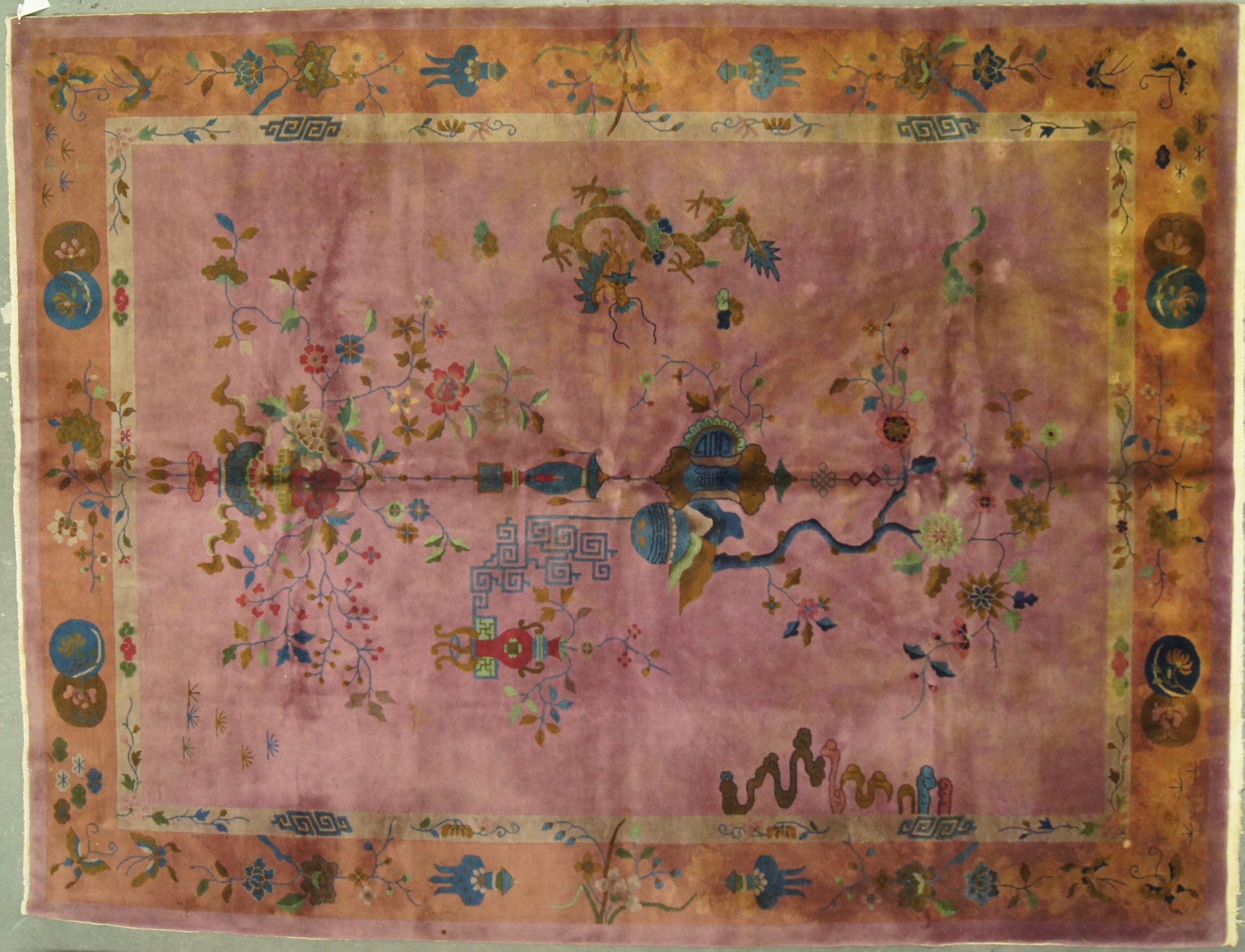 Antique 1920s 9x12 Chinese Afghan - Rug