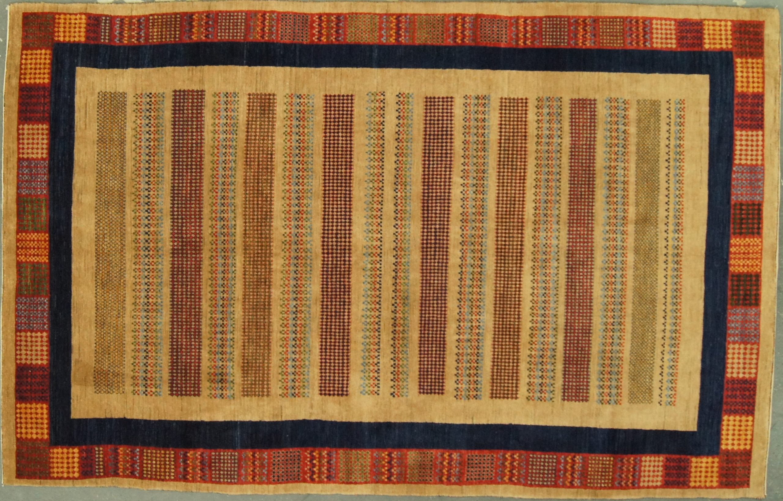 6x10 Indian Gabbeh Handspun Wool Organic Dyes - Rug