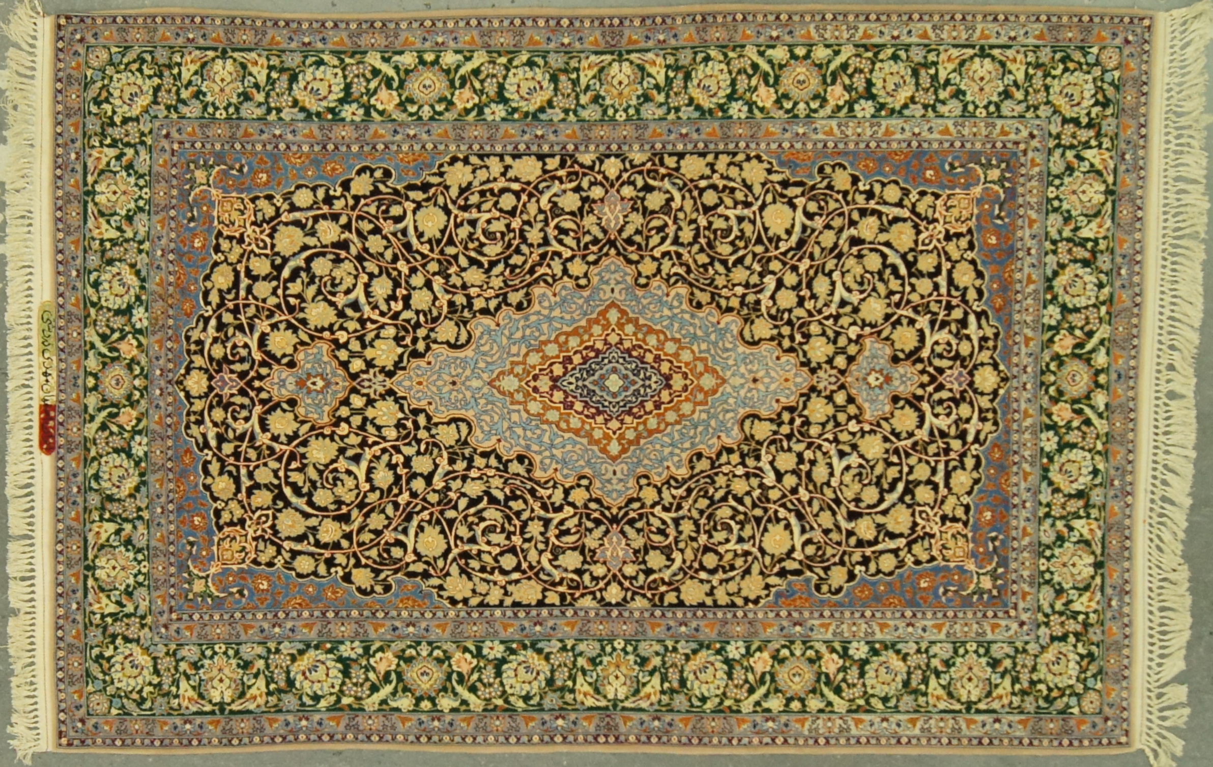 1950s 5x8 Persian Isfahan Superfine Wool & Silk Rug